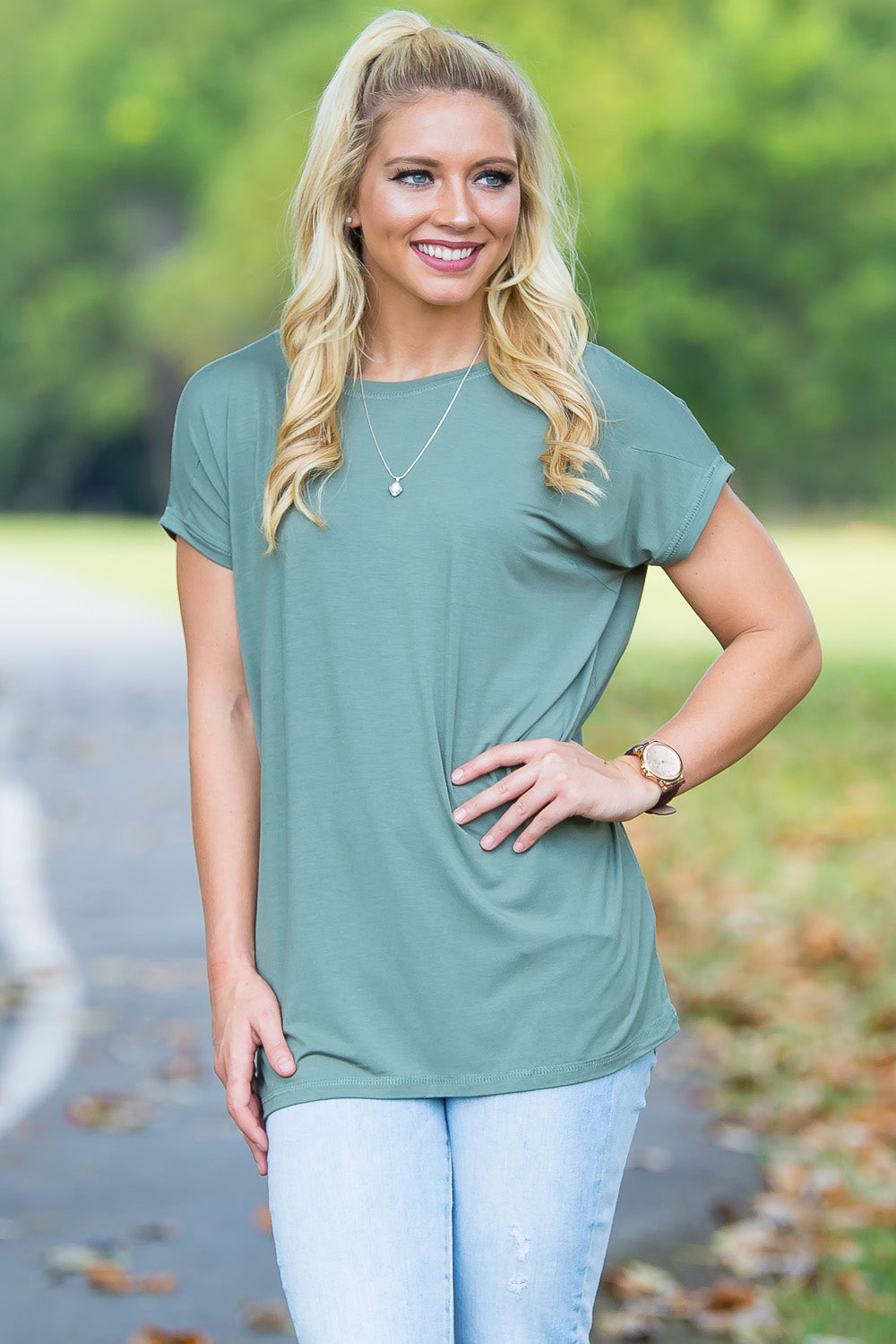 Short Sleeve Rolled Sleeve Piko Top - Olive - Piko Clothing