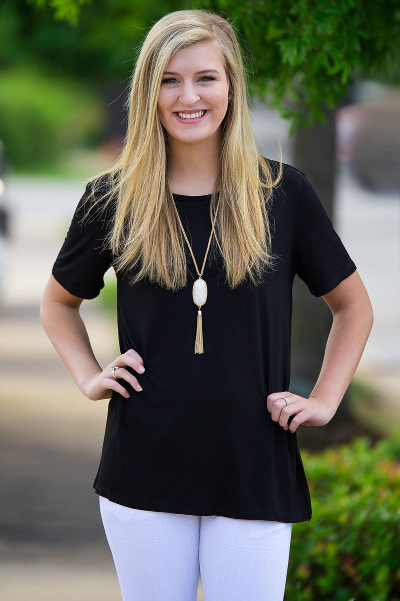 Short Sleeve Round Neck Piko Tee - Black - Piko Clothing