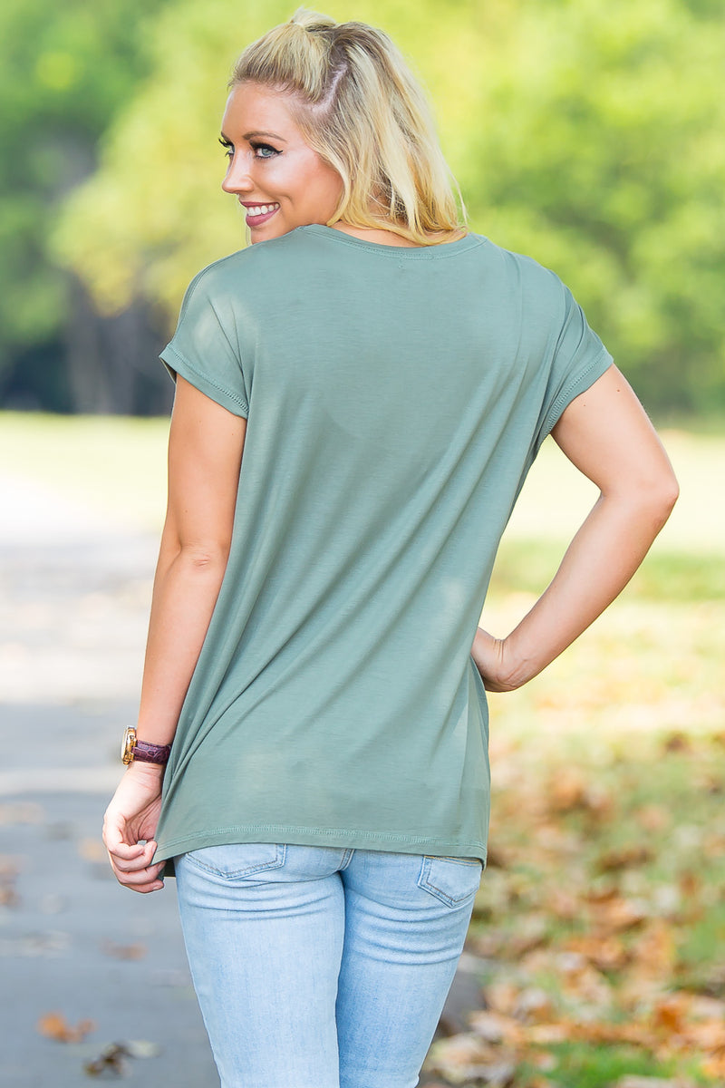 Short Sleeve Rolled Sleeve Piko Top - Olive