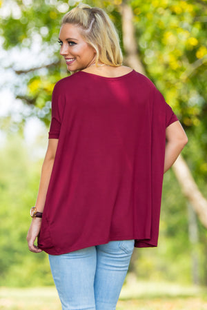 Short Sleeve Piko Top - Wine