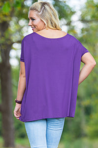 Short Sleeve Piko Top - Dark Purple