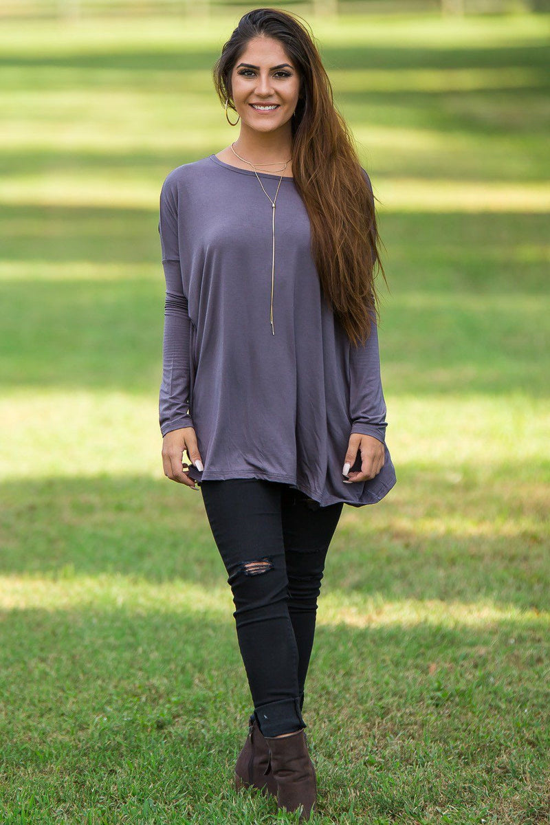 Long Sleeve Piko Top - Charcoal - Piko Clothing