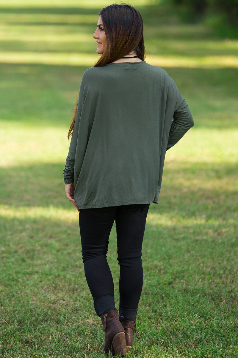 Long Sleeve V-Neck Piko Top - Army - Piko Clothing