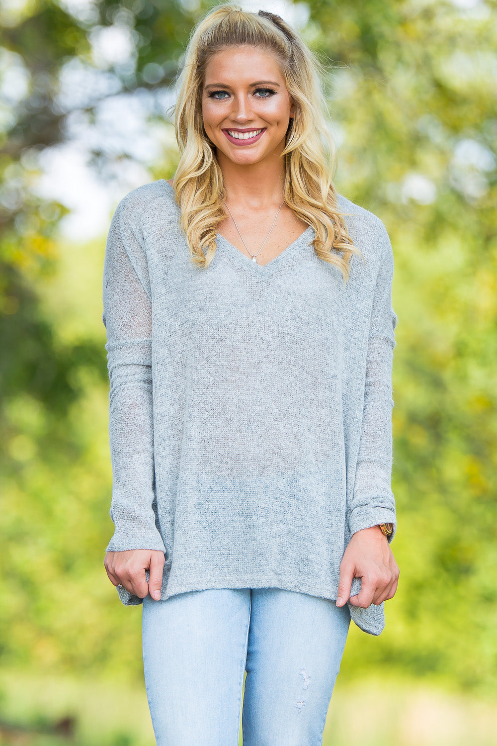Long Sleeve V-Neck Piko Sweater - Light Grey - Piko Clothing