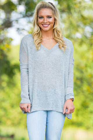 Long Sleeve V-Neck Piko Sweater - Light Grey