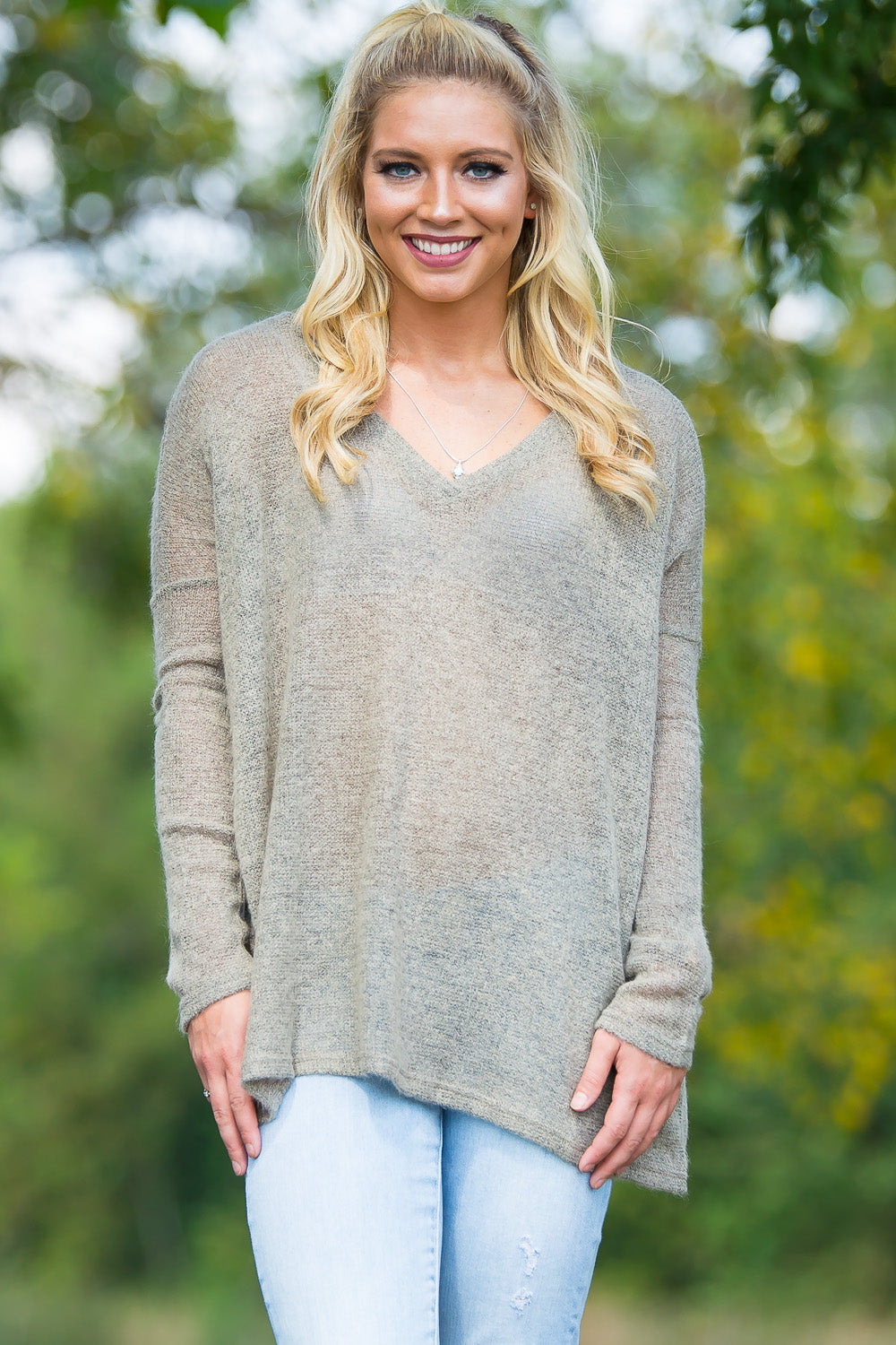 Long Sleeve V-Neck Piko Sweater - Khaki - Piko Clothing