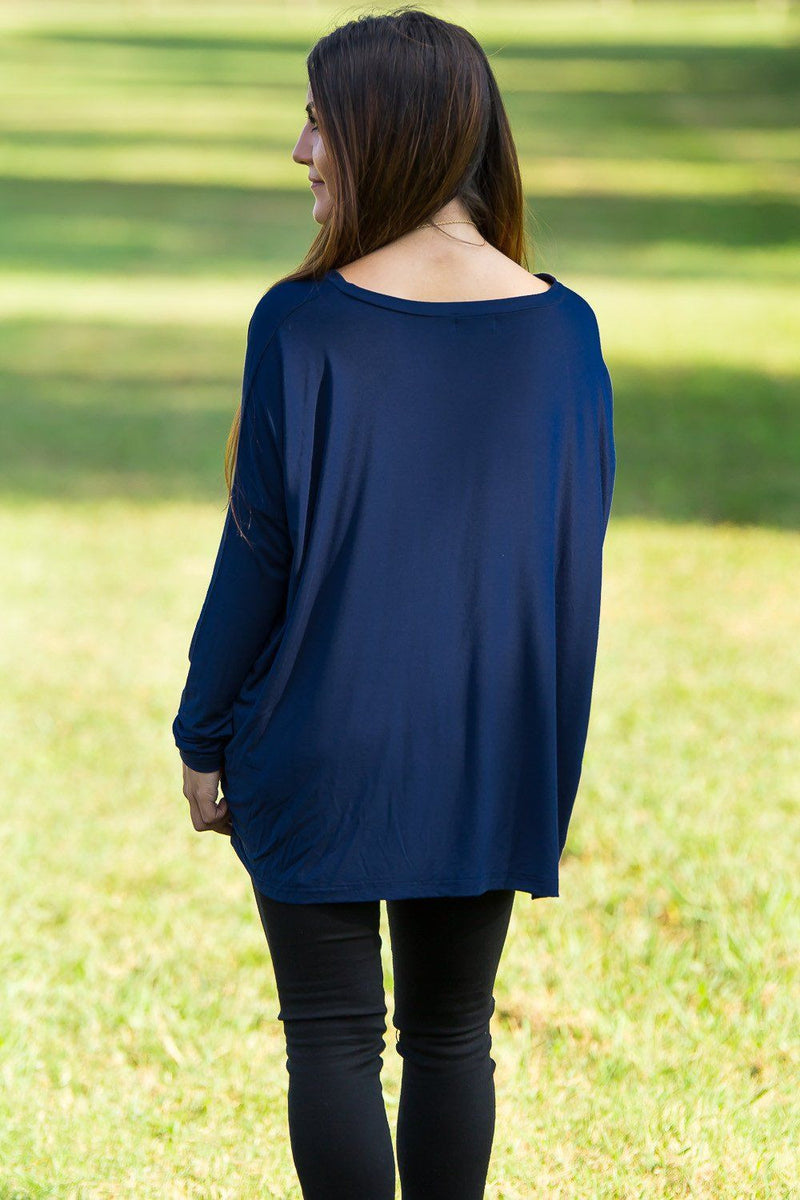 Long Sleeve V-Neck Piko Top - Navy - Piko Clothing