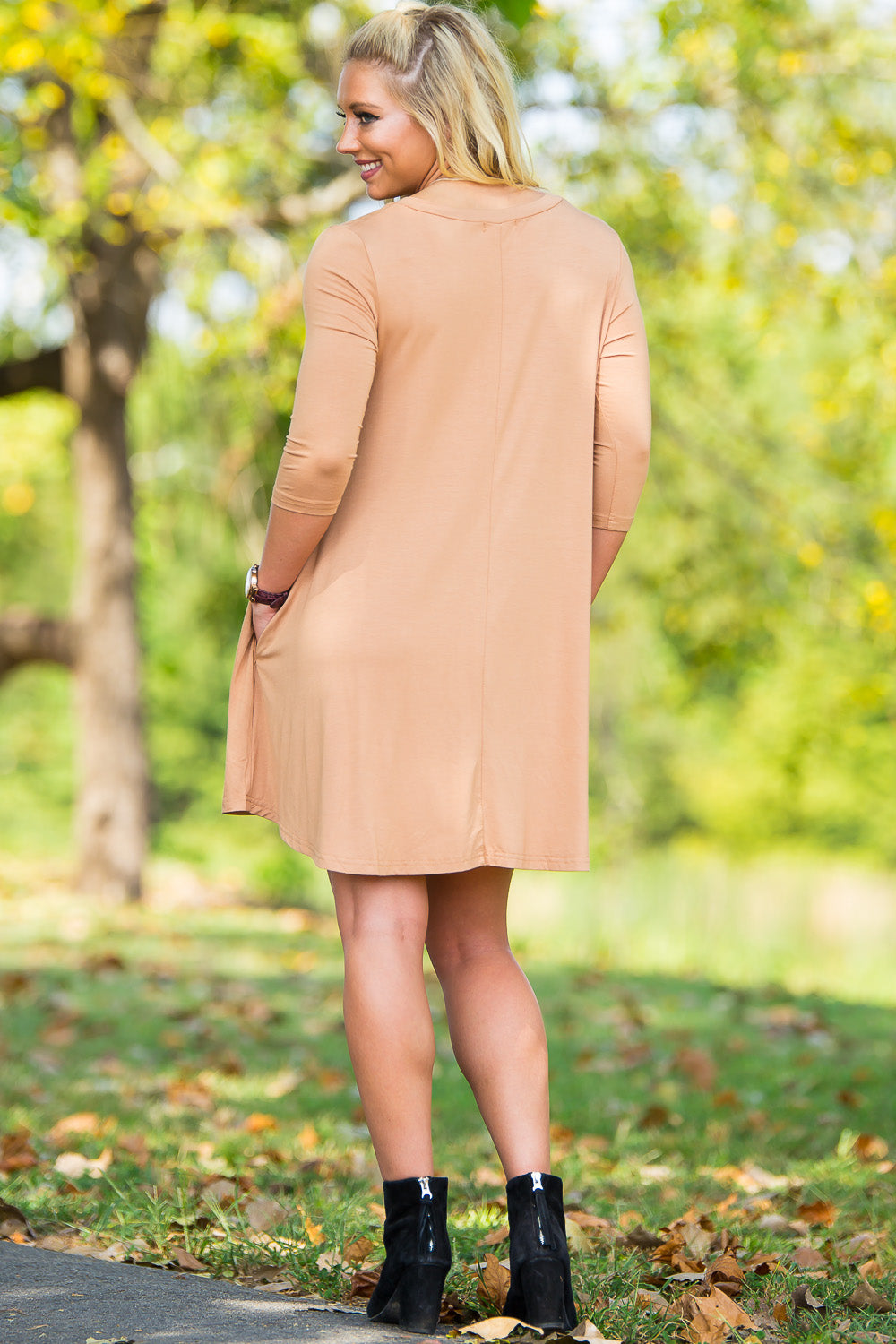 Piko 3/4 V-Neck Sleeve Swing Dress - Iced Coffee - Piko Clothing