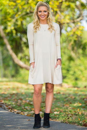 Piko Long Sleeve Swing Dress - Beige