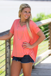 Short Sleeve V-Neck Piko Top - Dark Peach - Piko Clothing - 1