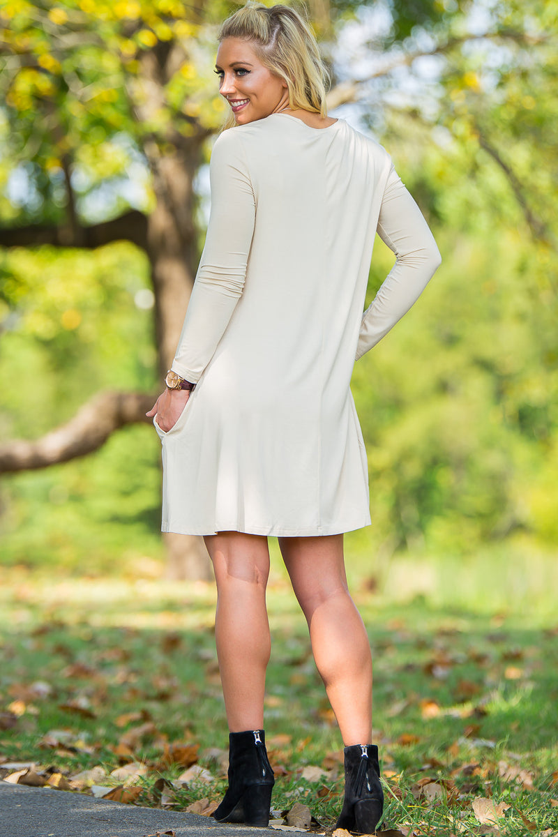 Piko Long Sleeve Swing Dress - Beige - Piko Clothing