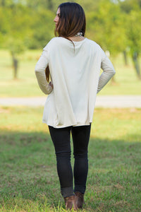Long Sleeve V-Neck Piko Top - Sand - Piko Clothing