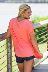 Short Sleeve V-Neck Piko Top - Dark Peach - Piko Clothing - 2