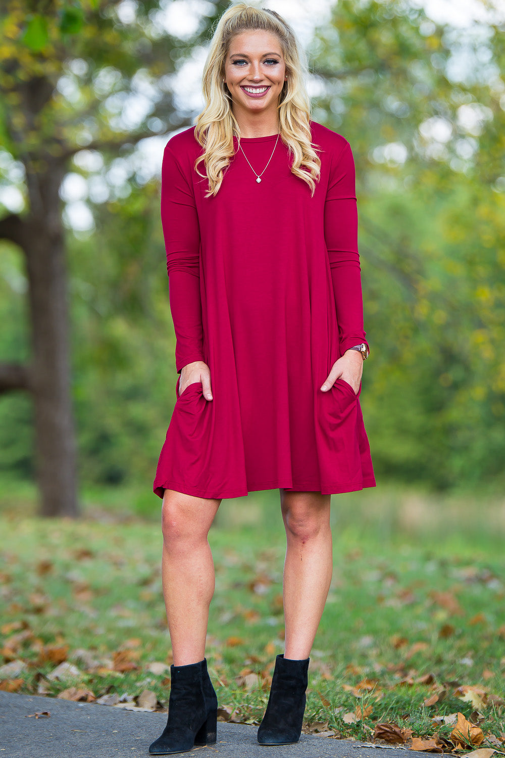 Piko Long Sleeve Swing Dress - Wine