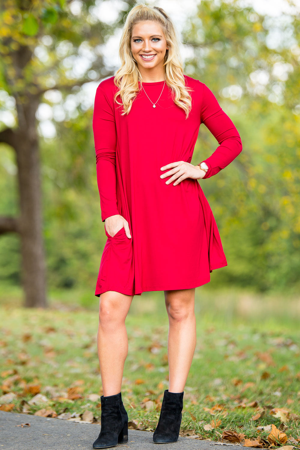Piko Long Sleeve Swing Dress - Red