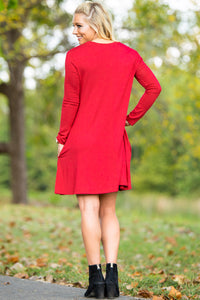 Piko Long Sleeve Swing Dress - Red - Piko Clothing