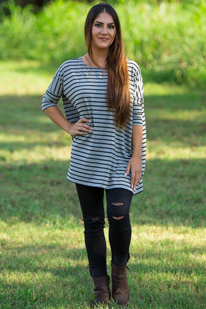 3/4 Sleeve Tiny Striped Piko Top - Heather Grey/Black - Piko Clothing