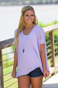 Short Sleeve V-Neck Piko Top - Lilac - Piko Clothing - 1
