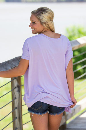 Short Sleeve V-Neck Piko Top - Lilac - Piko Clothing - 2
