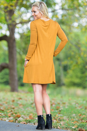 Piko Long Sleeve Swing Dress - Dark Mustard