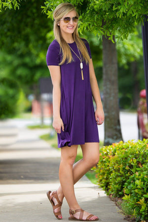 Piko Short Sleeve Swing Dress - Dark Purple