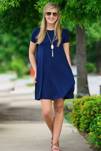 Piko Short Sleeve Swing Dress-Navy - Piko Clothing - 1