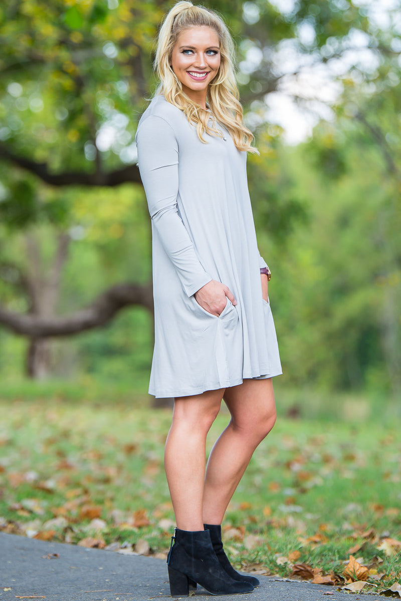 Piko Long Sleeve Swing Dress - Silver