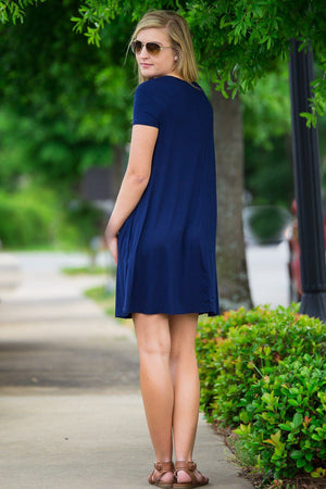 Piko Short Sleeve Swing Dress-Navy - Piko Clothing - 2