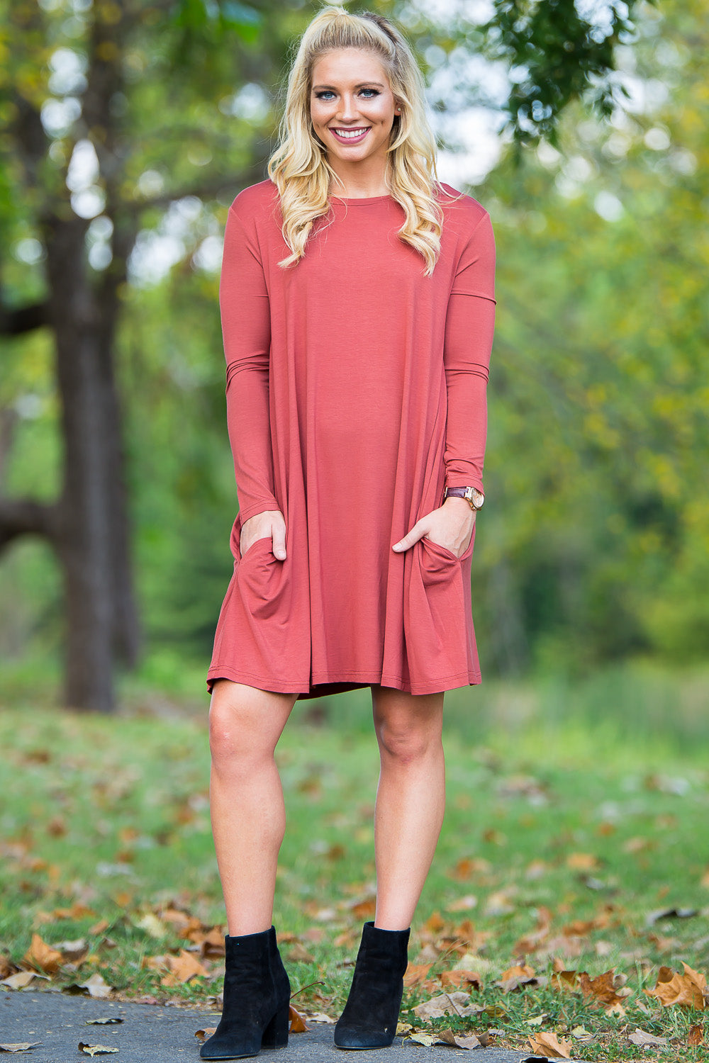 Piko Long Sleeve Swing Dress - Rust