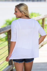 3/4 Sleeve Piko Top - White - Piko Clothing