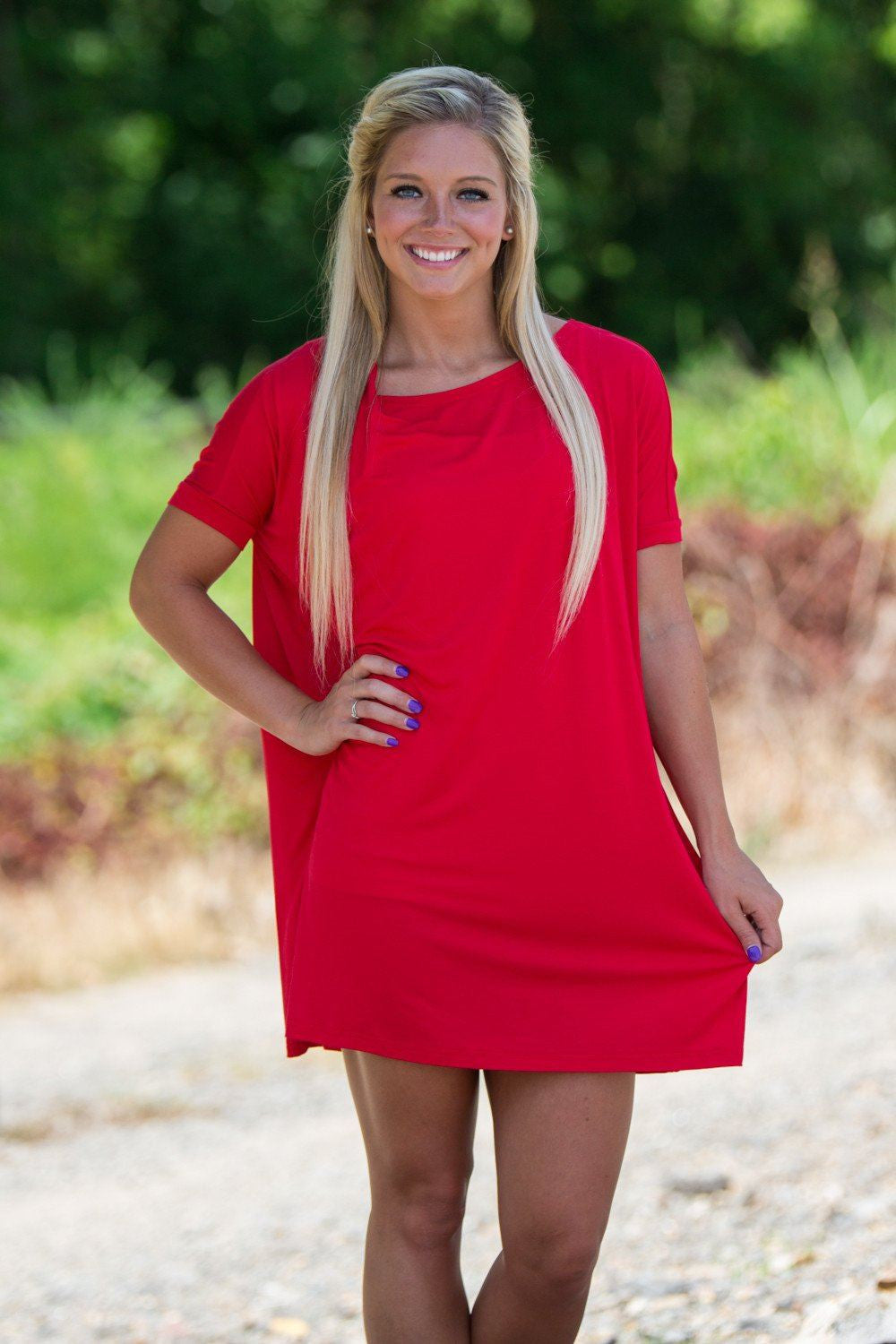 Short Sleeve Piko Tunic - Red - Piko Clothing
