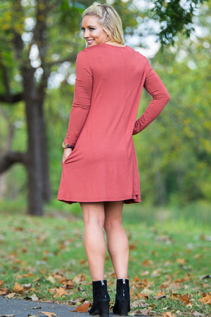Piko Long Sleeve Swing Dress - Rust - Piko Clothing