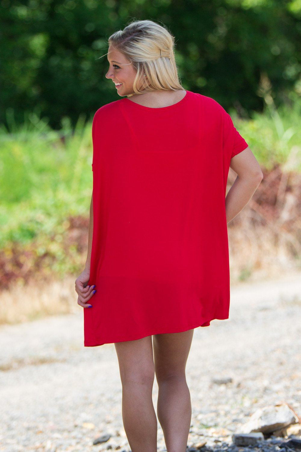 Short Sleeve Piko Tunic - Red - Piko Clothing - 2