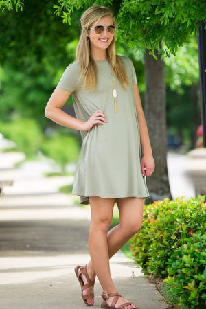 Piko Short Sleeve Swing Dress-Washed Cypress - Piko Clothing - 1