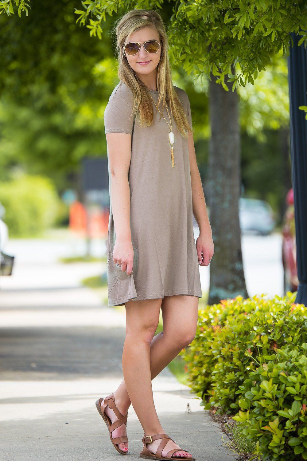 Piko Short Sleeve Swing Dress - Khaki - Piko Clothing