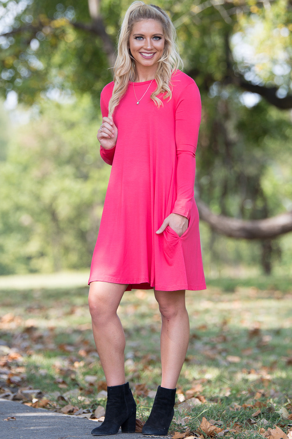 Piko Long Sleeve Swing Dress - Watermelon - Piko Clothing