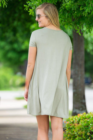 Piko Short Sleeve Swing Dress-Washed Cypress - Piko Clothing - 2