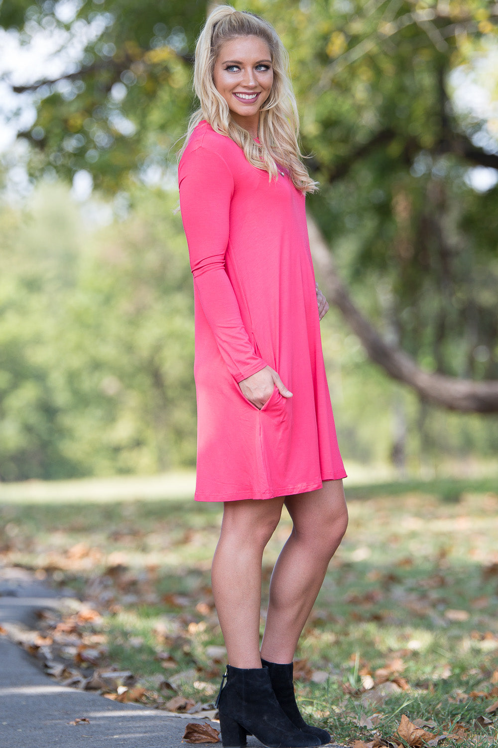 Piko Long Sleeve Swing Dress - Coral