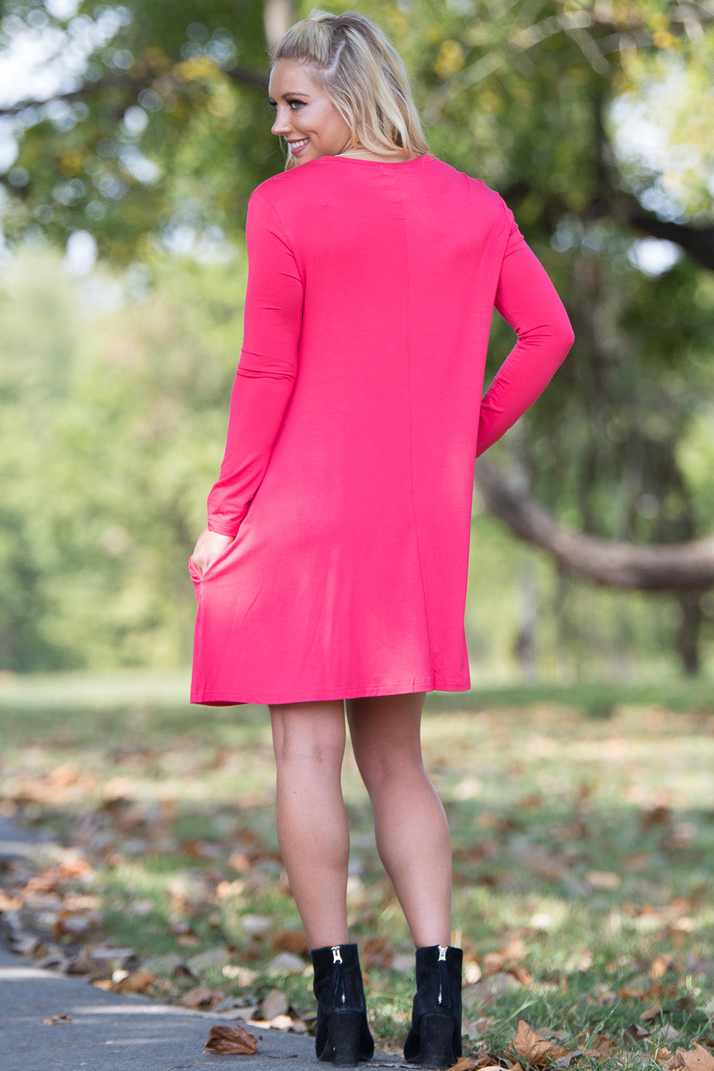 Piko Long Sleeve Swing Dress - Watermelon