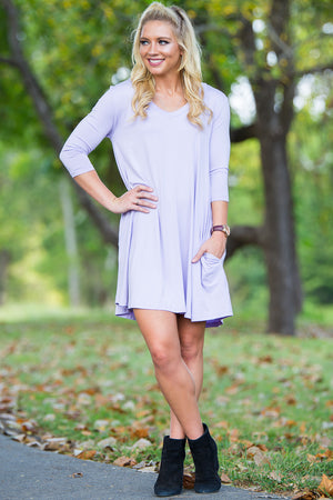 Piko 3/4 V-Neck Sleeve Swing Dress - Lilac
