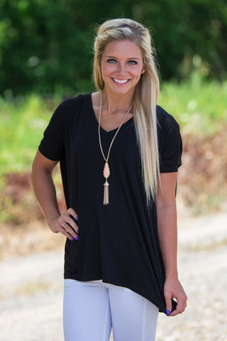 Short Sleeve V-Neck Piko Top - Black - Piko Clothing