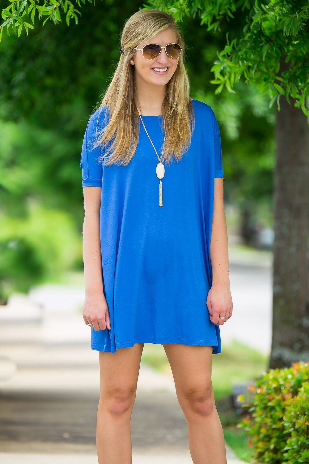 Short Sleeve Piko Tunic - Royal - Piko Clothing - 1