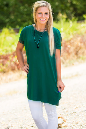 Short Sleeve Piko Tunic - Forest Green