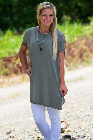 Short Sleeve Piko Tunic - Olive