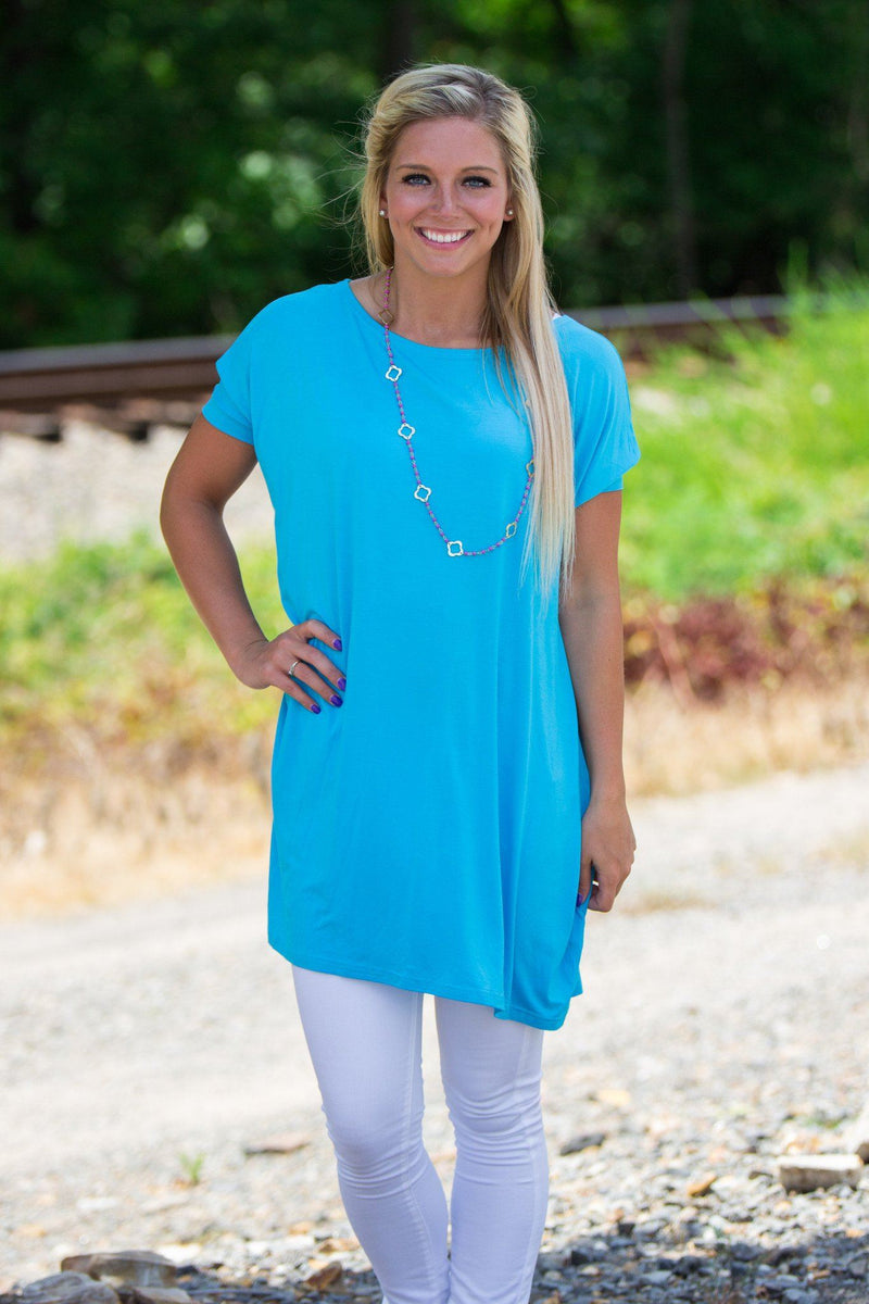 Short Sleeve Piko Tunic - Sky Blue - Piko Clothing