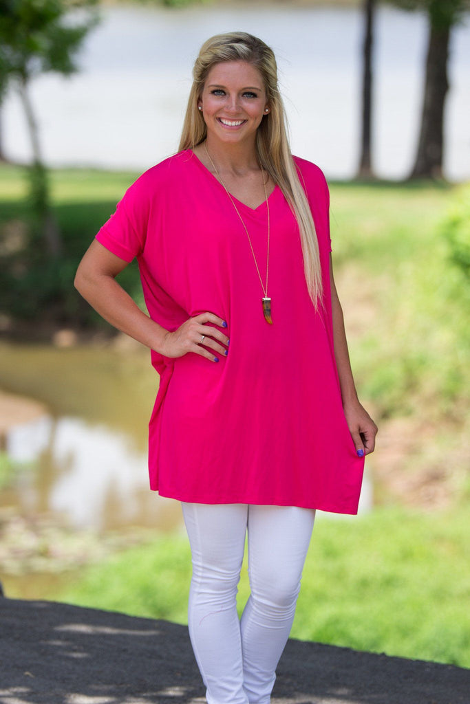 Short Sleeve V-Neck Piko Tunic - Hot Pink - Piko Clothing