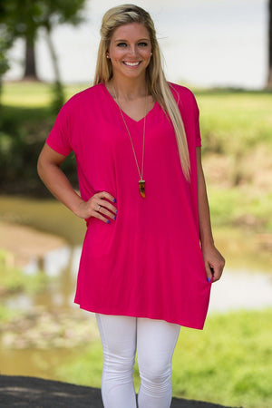Short Sleeve V-Neck Piko Tunic - Fuchsia