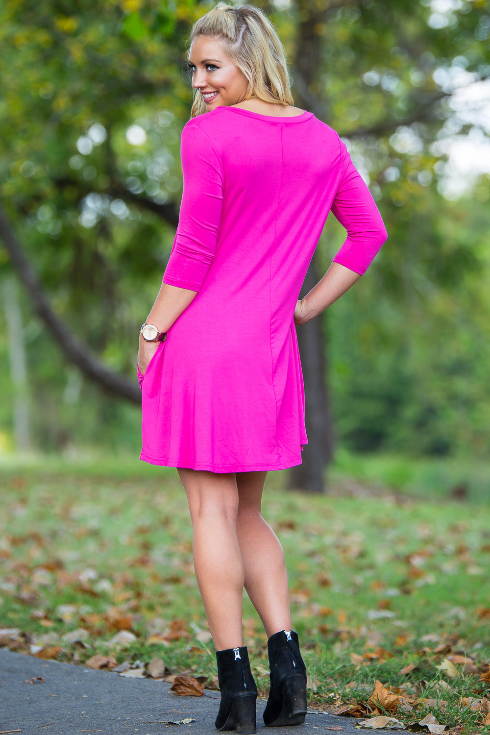 Piko 3/4 V-Neck Sleeve Swing Dress - French Rose