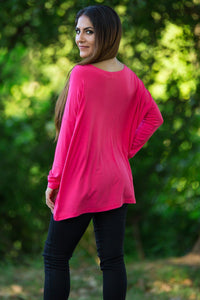 Long Sleeve Piko Top - Fuchsia - Piko Clothing