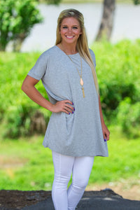 Short Sleeve Piko Tunic - Heather Grey - Piko Clothing - 1